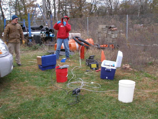 Monitoring well testing Danville lagoons